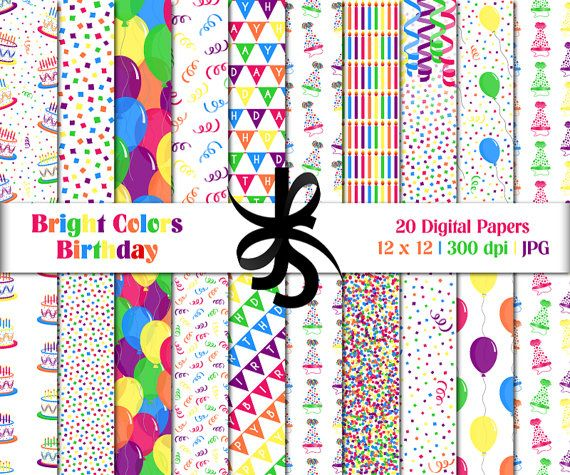 Digital Scrapbook Papers-Bright Colors Birthday-Clipart-Colorful - birthday invitation backgrounds