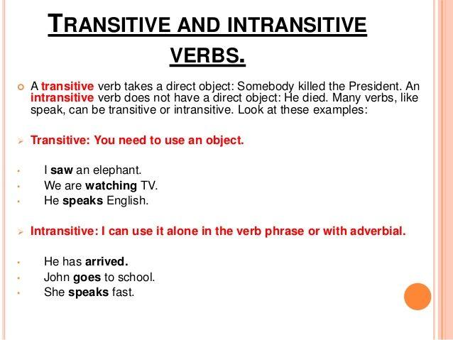 Grammar and usage: transitive vs. Intransitive verbs wordsmyth blog.