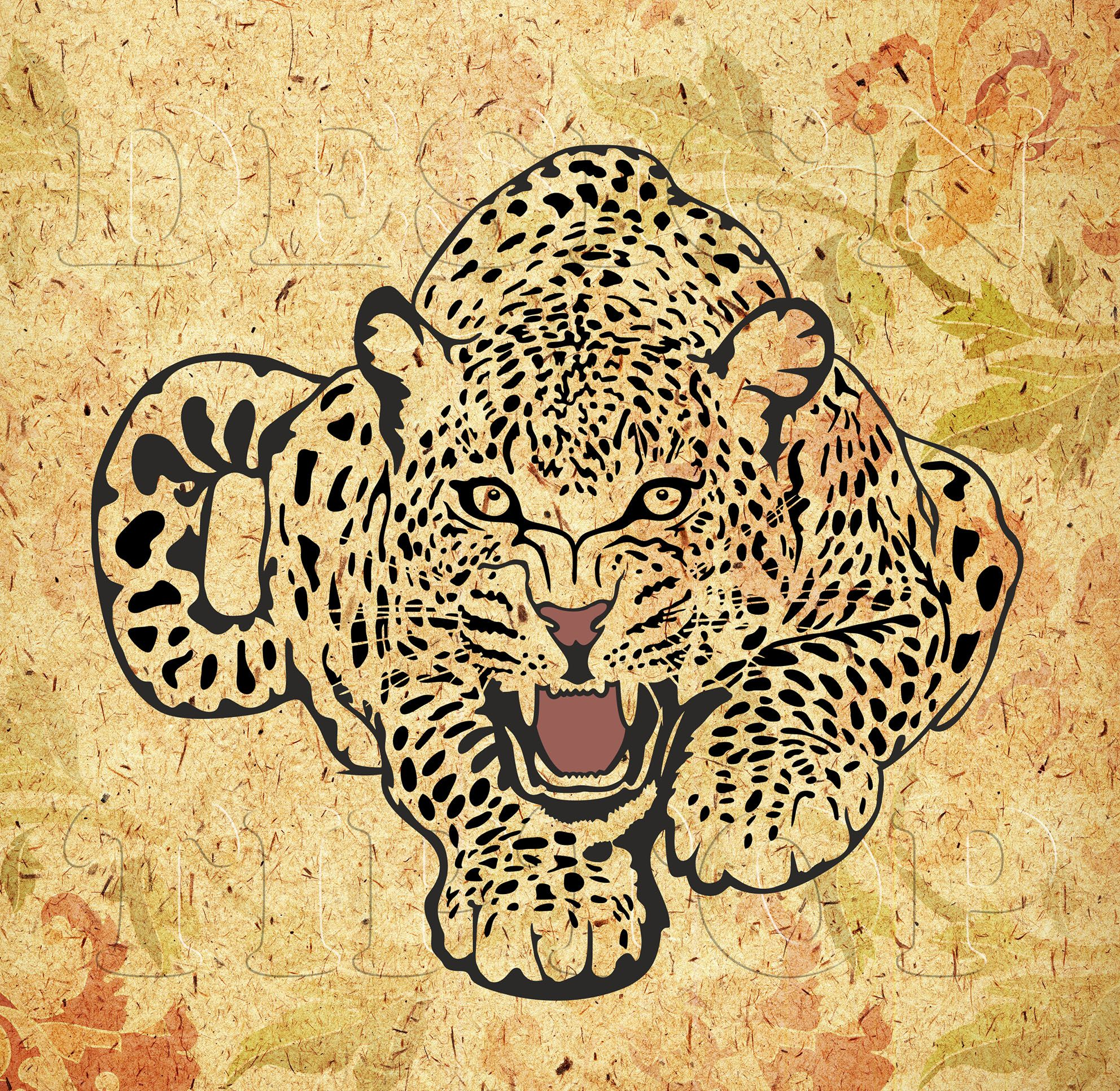 Multilayered image of a leopard, SVG, DXF, PNG, AI ,CDR, PDF ...