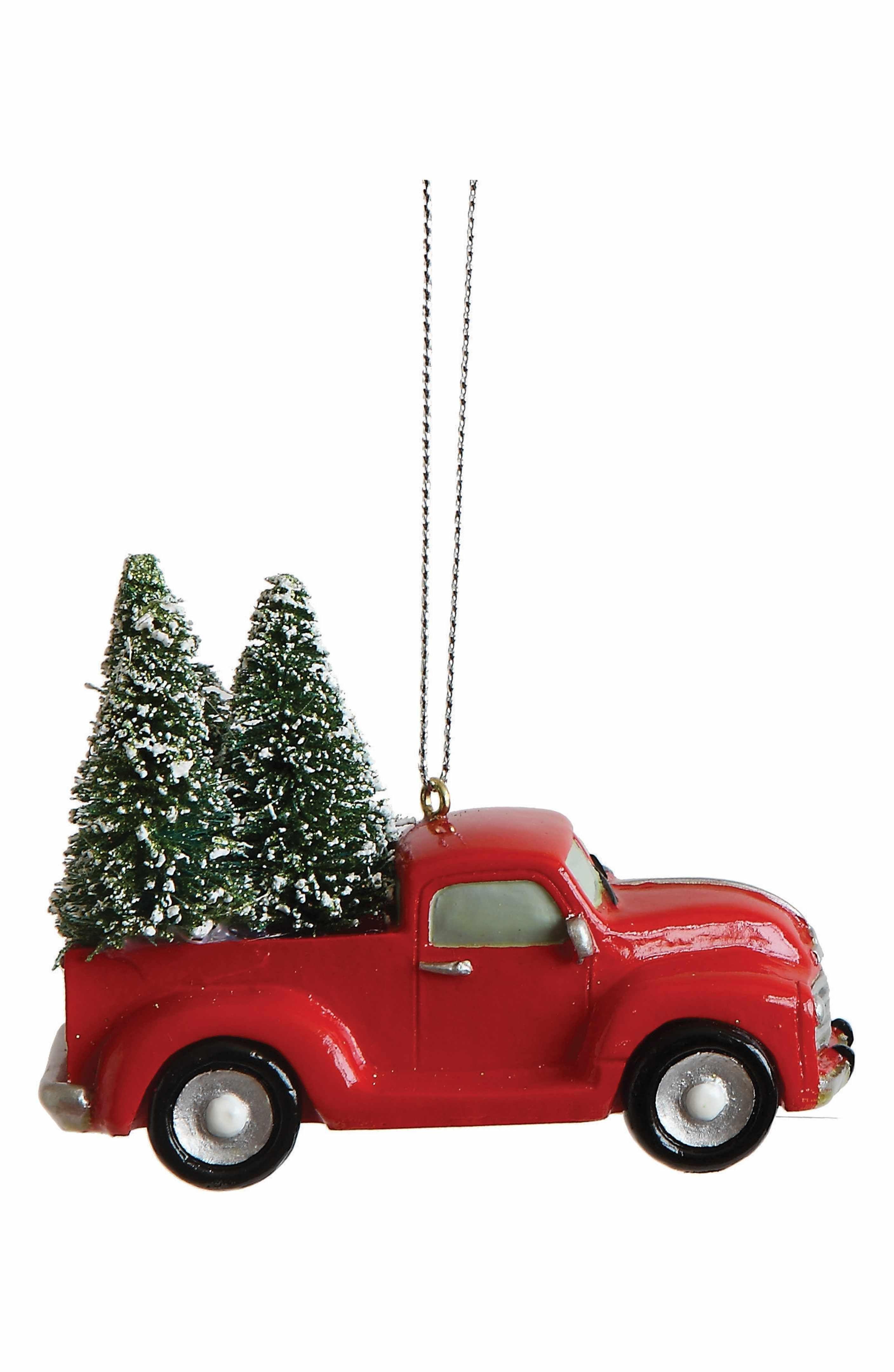 Main Image Creative Co Op Truck Ornament Christmas Red Truck Christmas Car Vintage Christmas