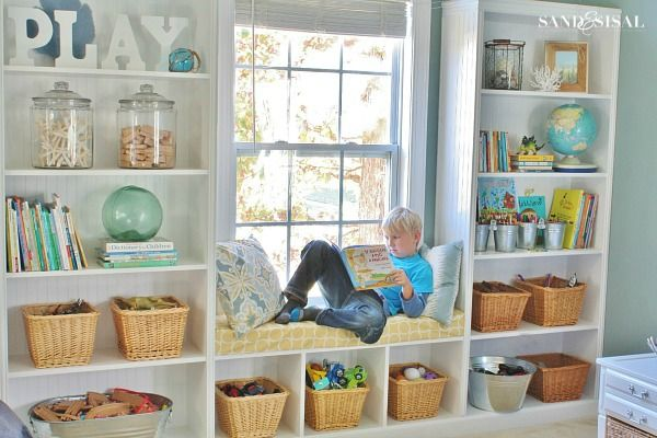 Playroom Storage Ideas- Decorating Built Ins | Built ins, Nooks ...