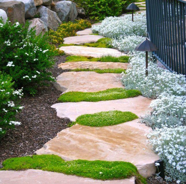 stein weg im garten fugen moos natur design zaun steingarten