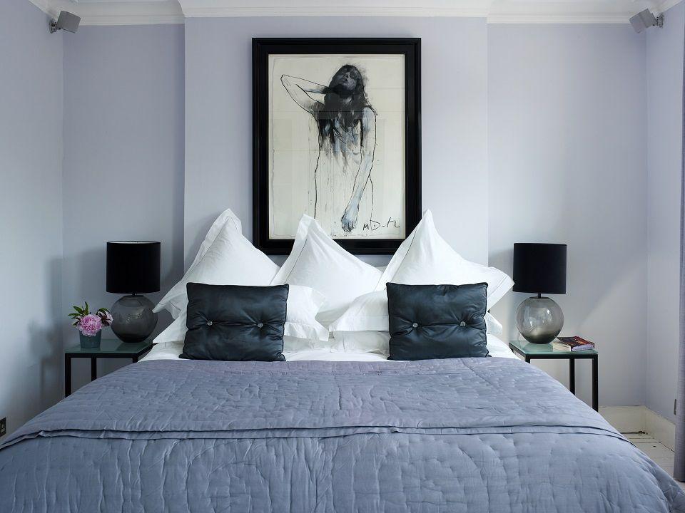 Putney Villa.  Bedroom.  Mulberry cushions, Mark Demsteader original artwork, grey smoked glass lamps, quilt, ladder stitch bed linen by Nicola Pratt interior design