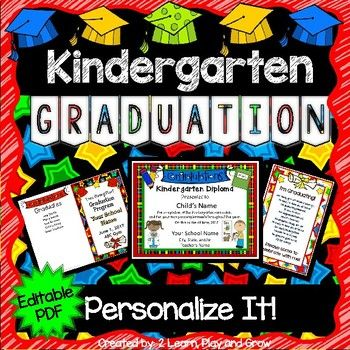 Kindergarten Diplomas Programs Invitations  Editable