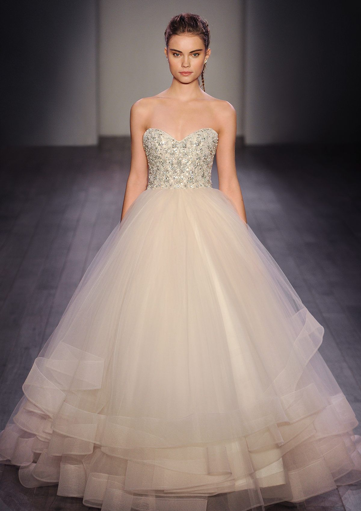 Lazaro spring 2016 style 3608 champagne tulle bridal for Tulle halter wedding dress
