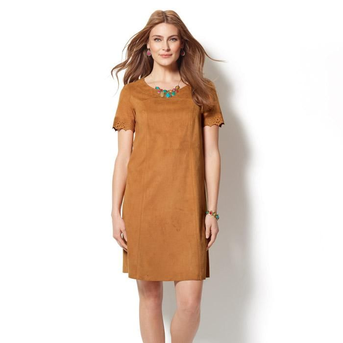 4310422cf6 Faux-Suede Shift Dress. The camel color faux-suede dress with cutout  detailing pairs perfectly with turquoise touches.