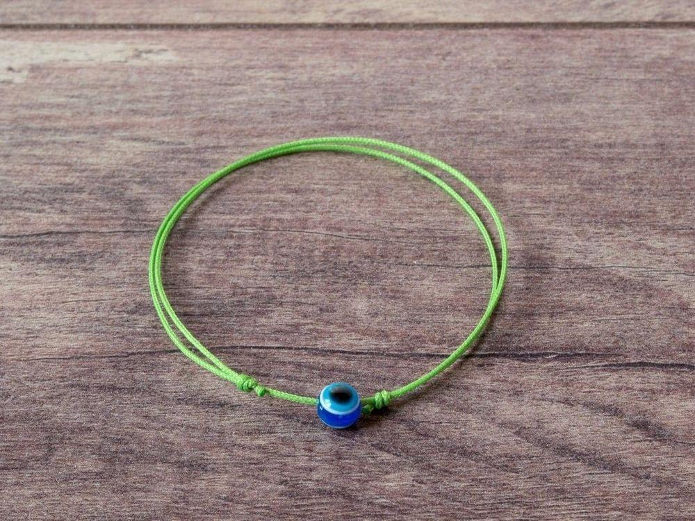Blue Evil Eye Green String Bracelet Wish Good Luck Amulet Talisman Women Men Handmade Friendship
