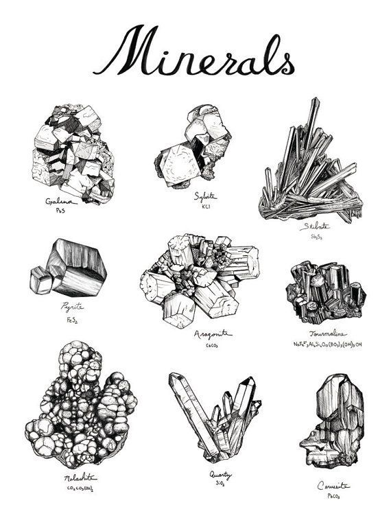 Mineral Drawings Com Imagens Tatuagem De Cristal Minerais