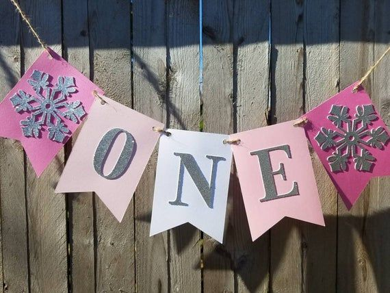 One banner,winter onederland high chair banner,cake smash banner,winter 1st birthday,pink ombre,phot