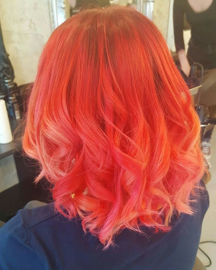 My Hair Is Almost This Color Mixing Arctic Fox Poison Sunset Orange And Wrath Coral Hair Coral Hair Color Hair