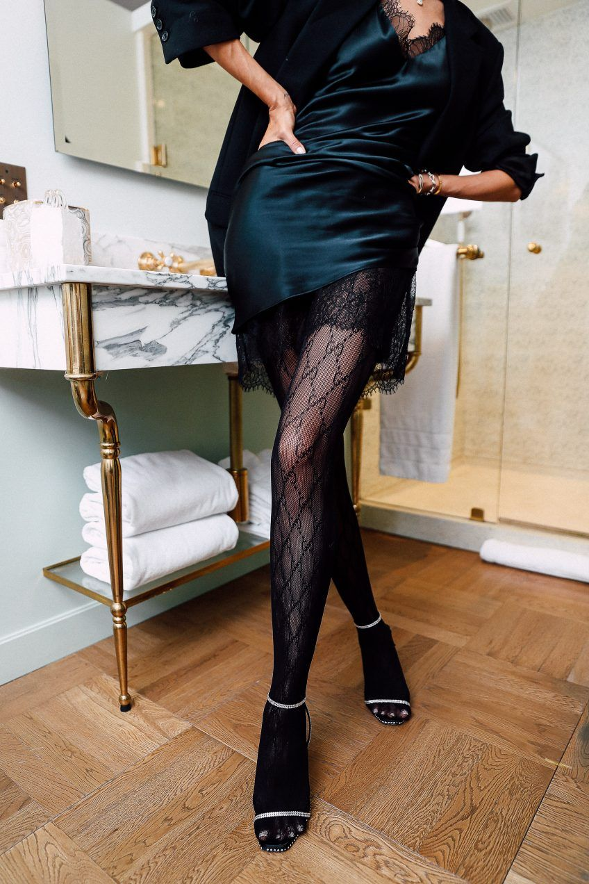 How To Add Instant Glam To Your Holiday Look Vivaluxury Slip Dress Outfit Casual Dress Outfits Fashion Tights [ 1272 x 848 Pixel ]