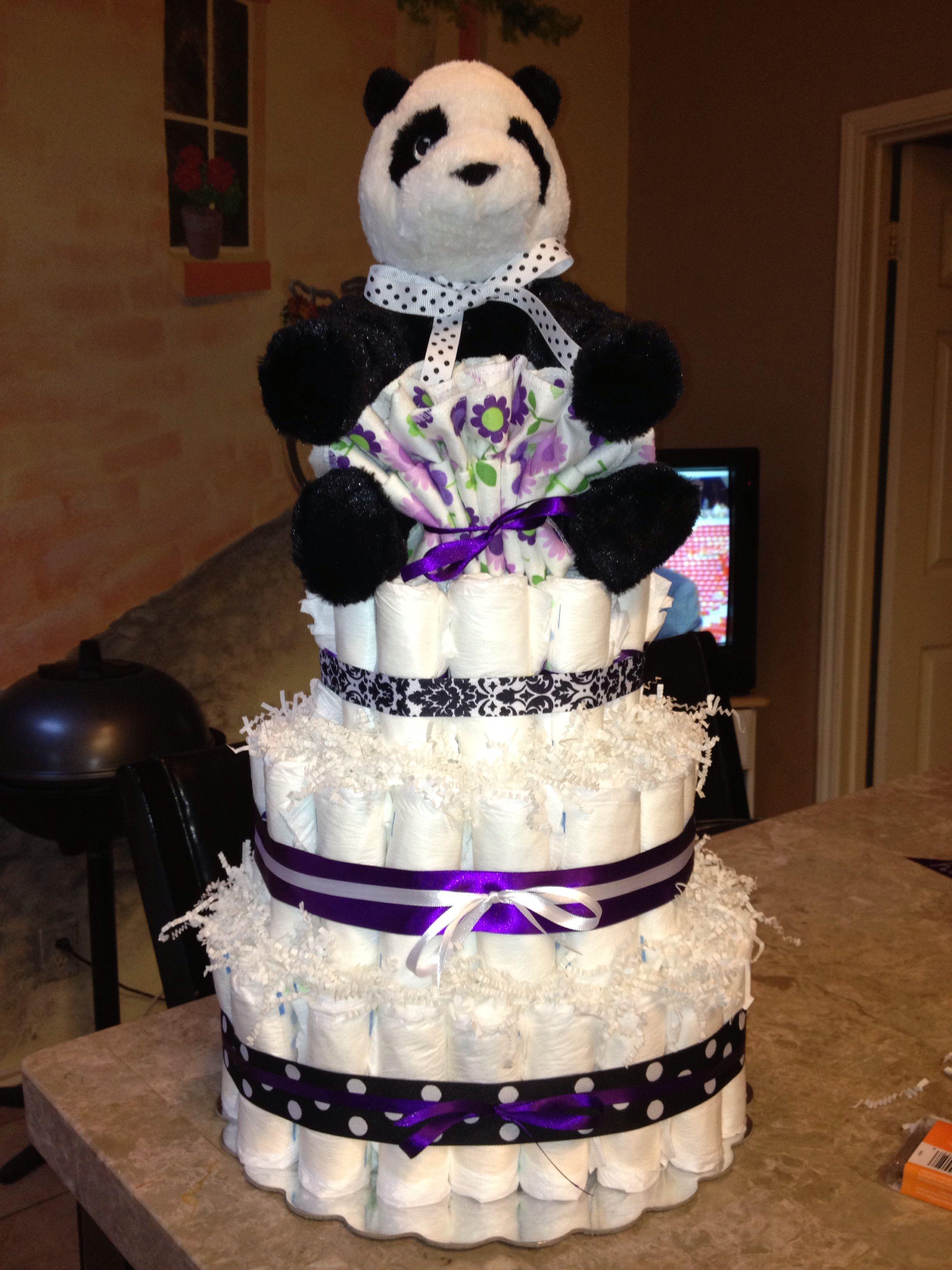 Gmail panda theme - Panda Bear Theme Diaper Cake With Purple Accents