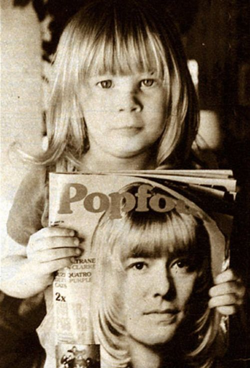 Zowie Bowie who just got his haircut like one of his favorite musicians, Brian Connolly, Sweet (on the cover of German Fanzine 'Popfoto') https://www.youtube.com/watch?v=n0xOovaadJI