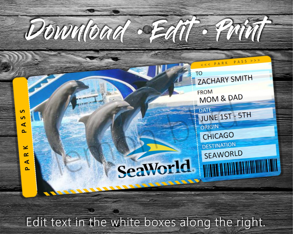 Seaworld Trip Tickets Custom Way To Surprise Someone With A Trip To Seaworld Or Discovery Cove Custom Tickets Surprise Vacation Surprise Trip Reveal