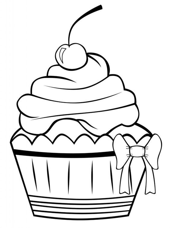 Cute Cupcake Coloring Pages  drawing  Pinterest  Coloring
