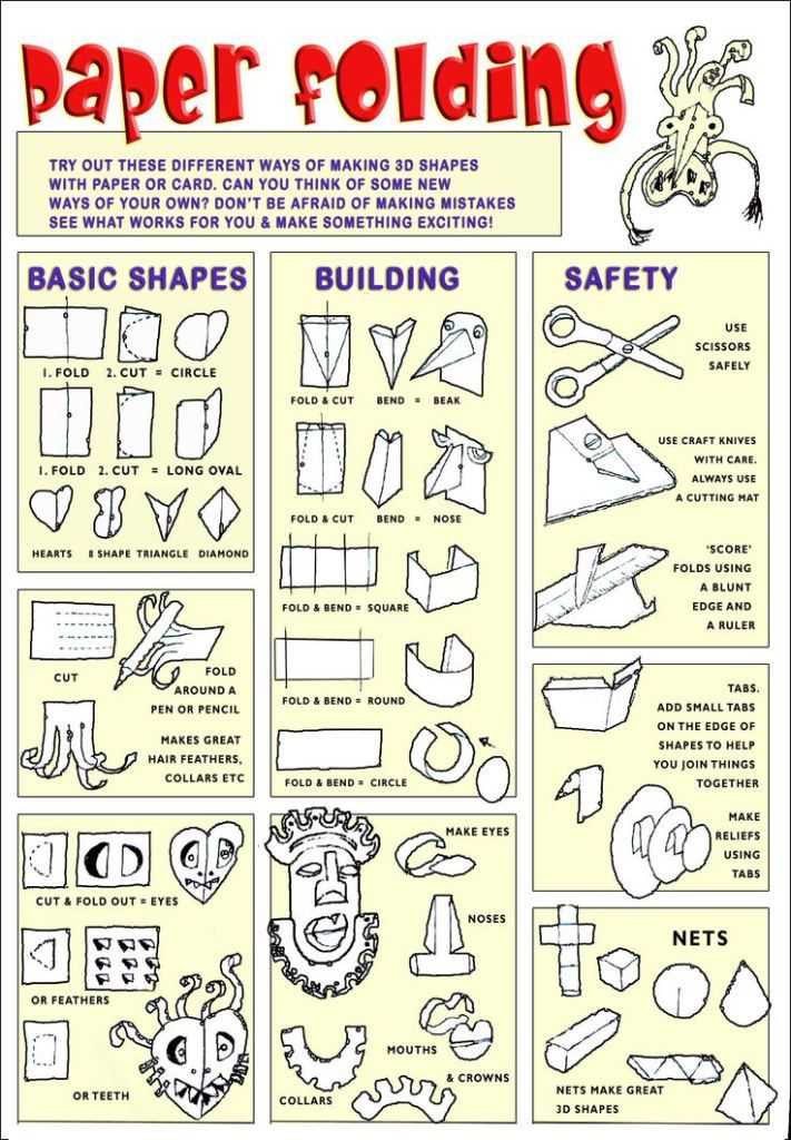 paper folding paper cut art worksheets art handouts art classroom. Black Bedroom Furniture Sets. Home Design Ideas