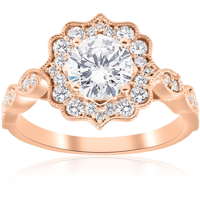 14k rose gold 1 3 8 ct tdw diamond clarity enhanced vintage halo