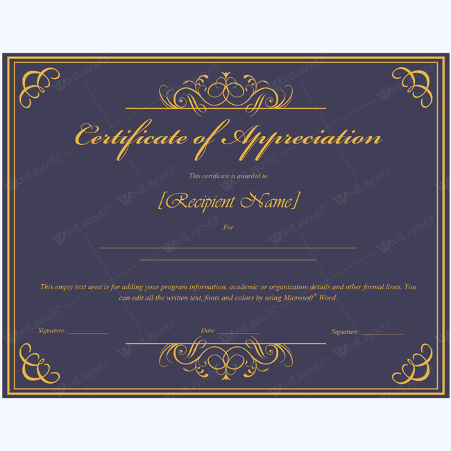Certificate Of Appreciation   Certificate Appreciation And