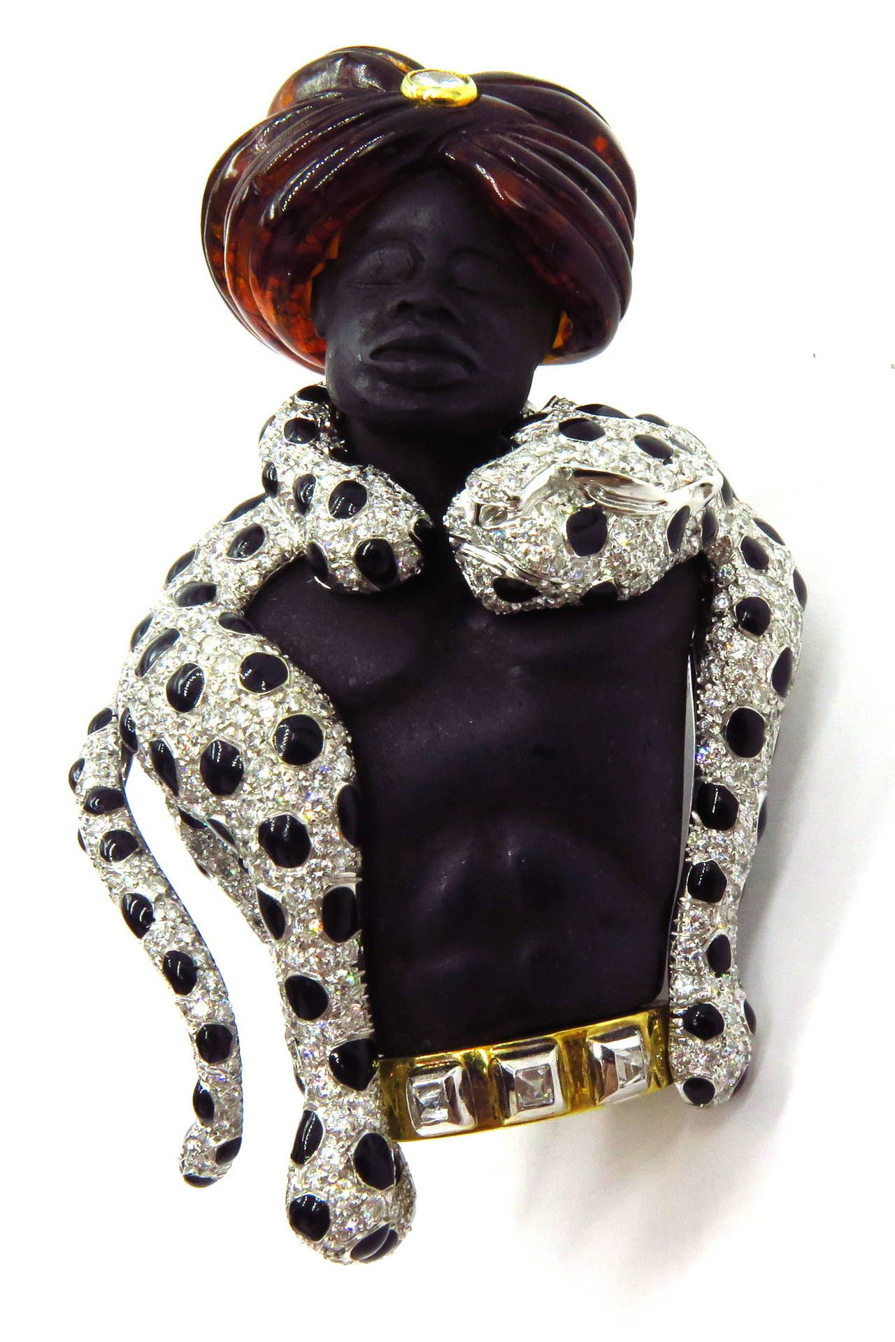 Magnificent Large Blackamoor with Movable Draping Enamel Diamond Leopard Pin 3