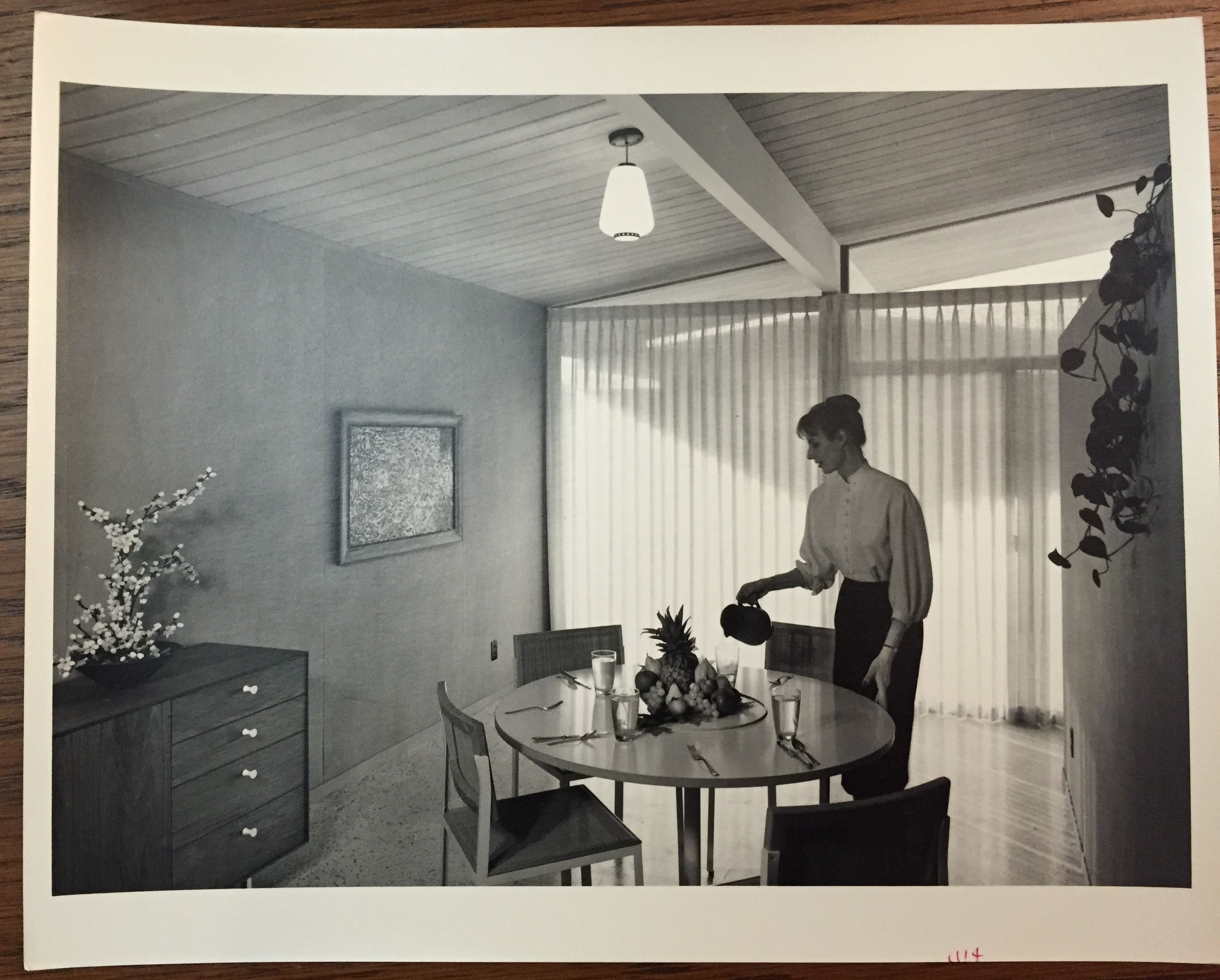 eichler homes interior photograph of dining room (original at ucla