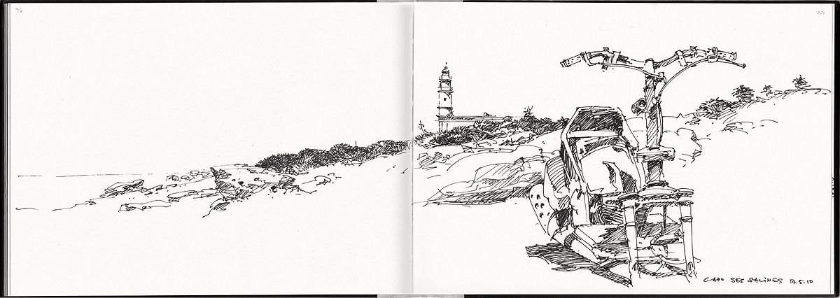 Cap de Ses Salines, sketchbook Mallorca 2010, roller ball pen               Roller ball pens: Advantages: Line does ...