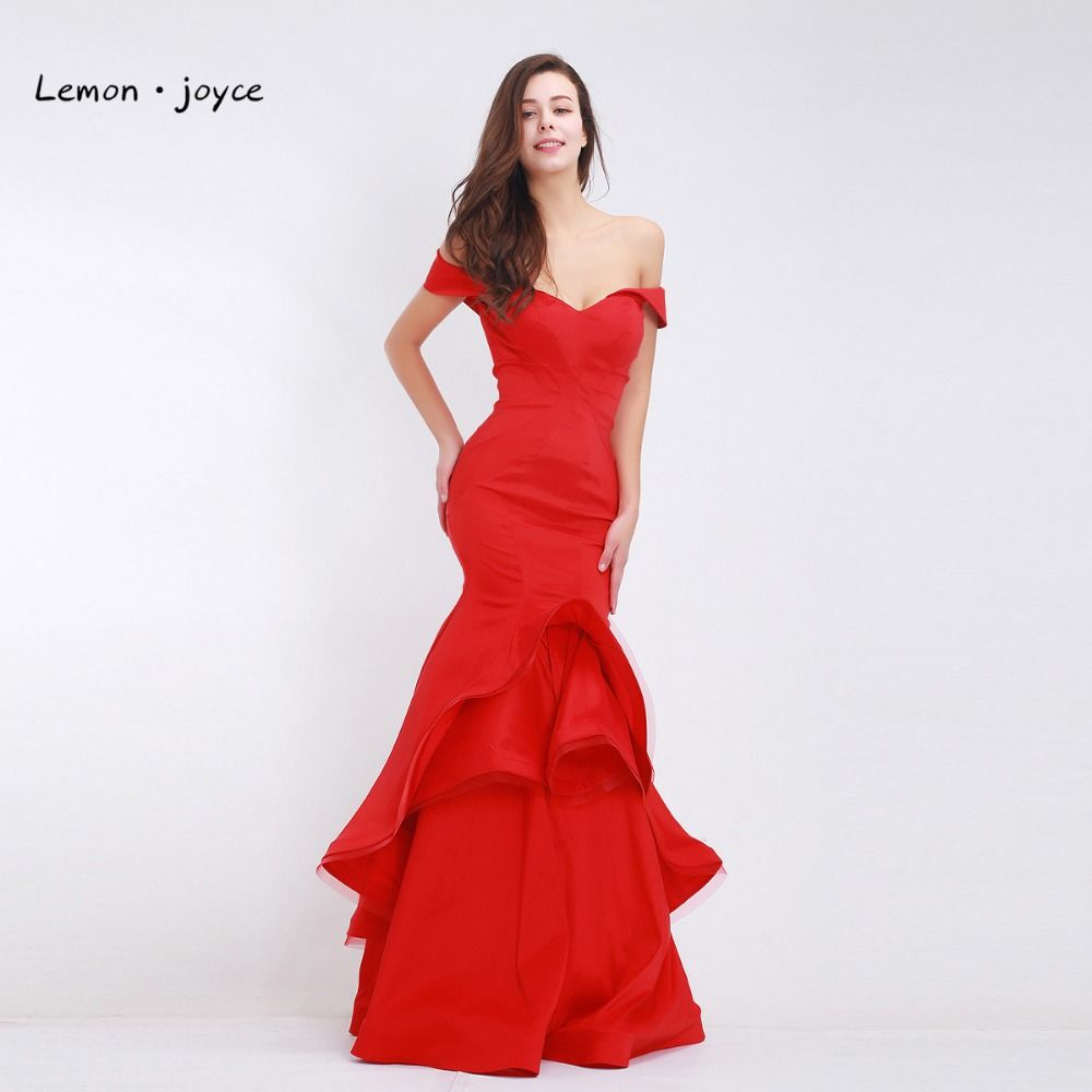 c2d37165bc Red Evening Dresses Long Mermaid 2018 Elegant Boat Neck Simple Dress ...