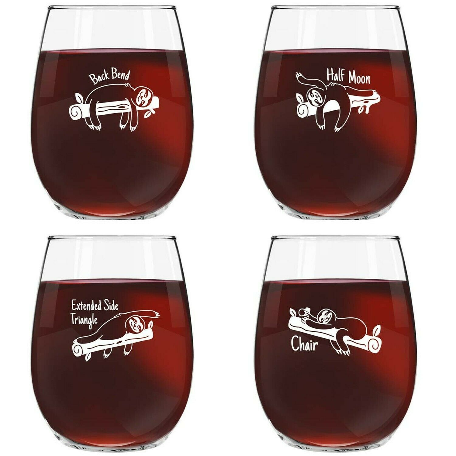 Personalised Glass Sloth Happy Face Stemmed//Stemless **CHECK INFORMATION**