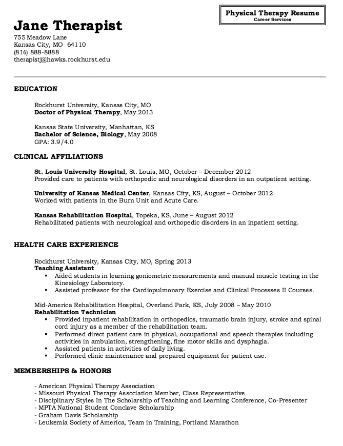 Physical Therapy Resume Sample Httpresumesdesigncomphysical Therapy  Sample Occupational Therapy Resume