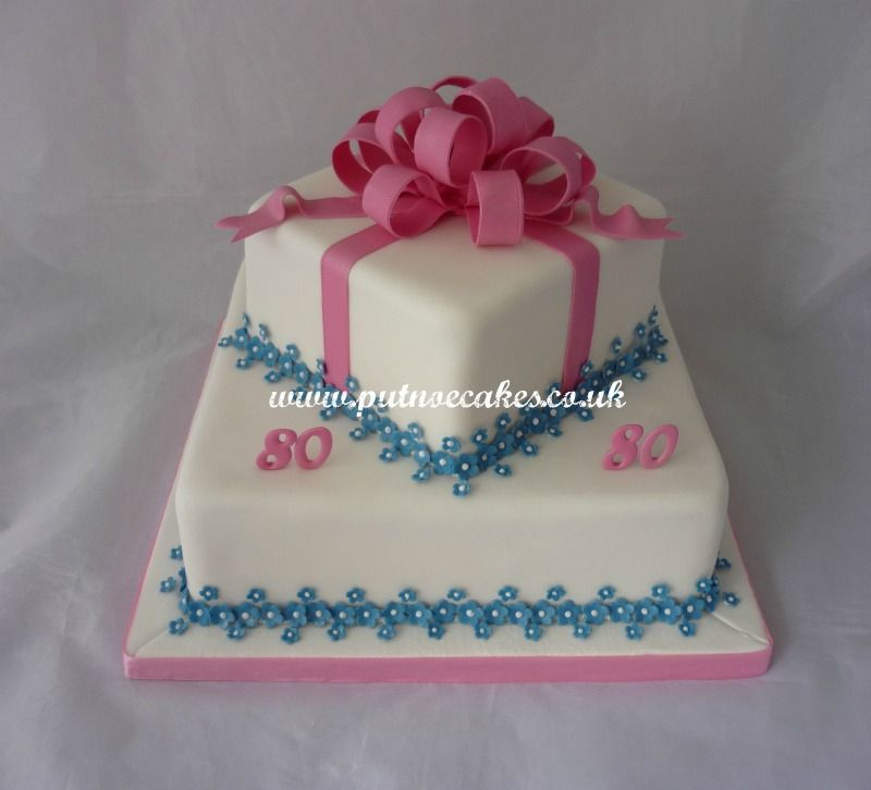 Square Offset Two Tier 80th Birthday Cake With Pink And Blue