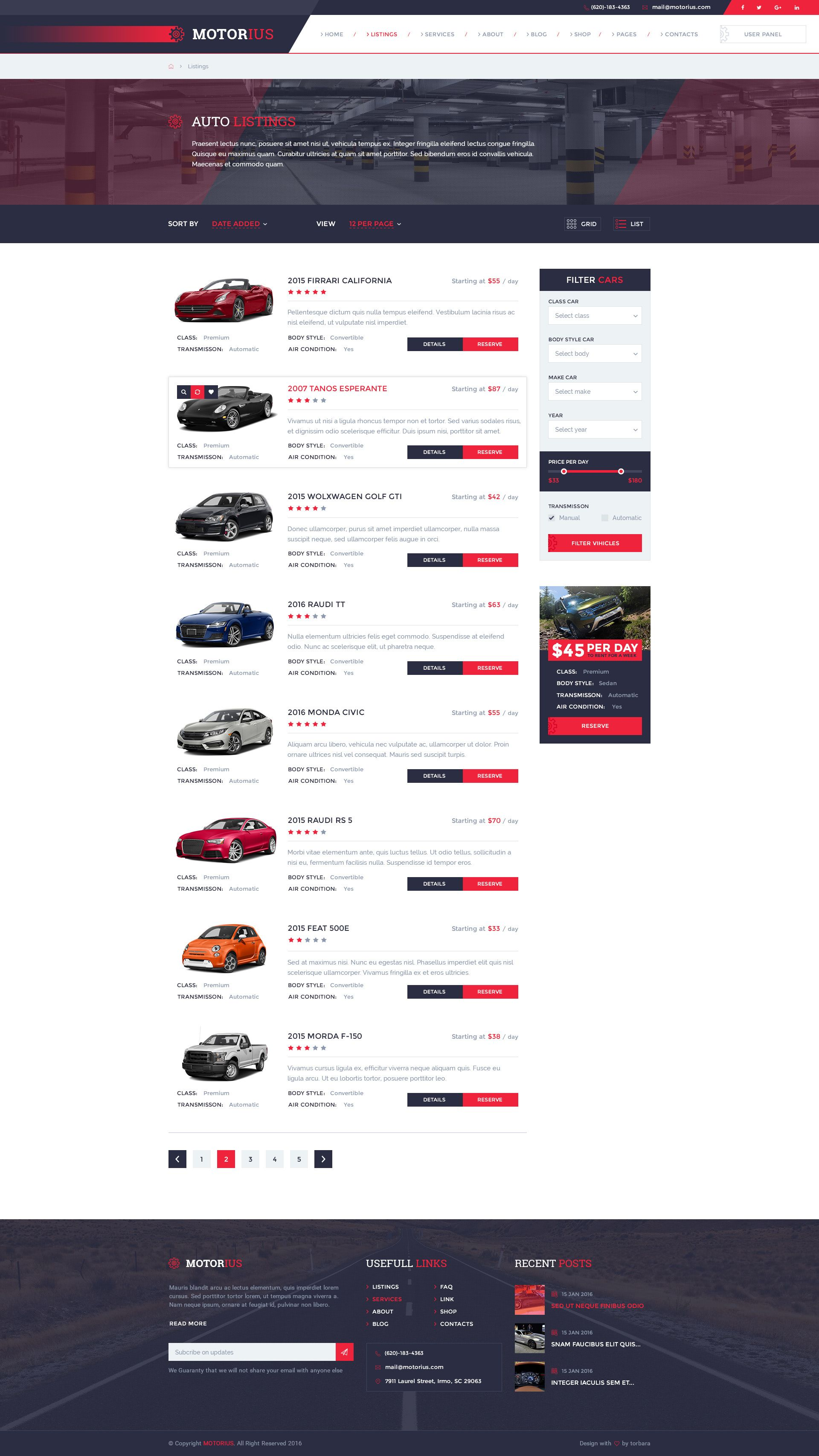 Motorius  U2014 Exclusive Sell  Rent Cars Psd Template