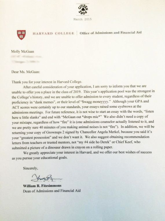 That Harvard Rejection Letter Is Fake, But Still Really, Really - college acceptance letters