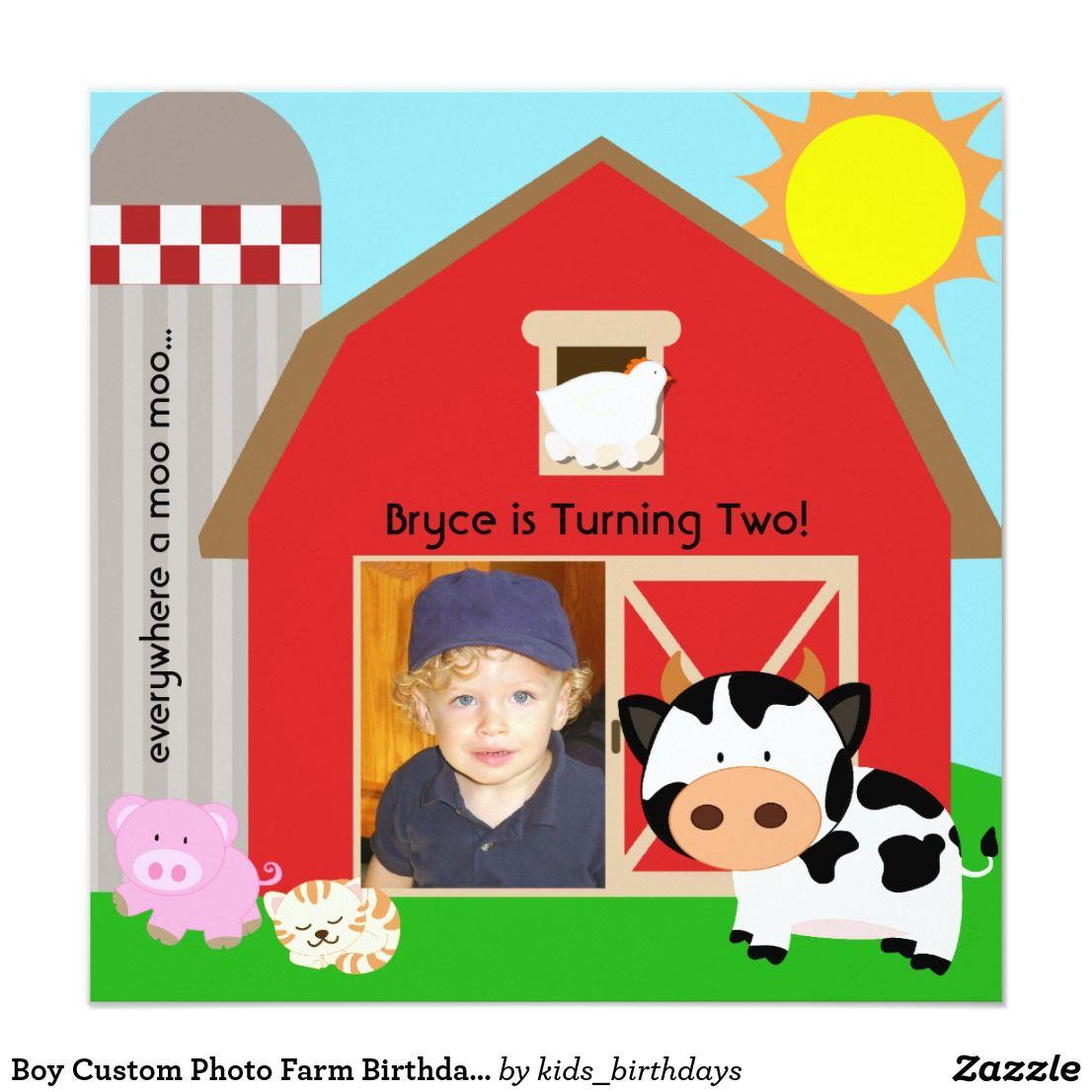 Boy Custom Photo Farm Birthday Invitations   Kid\'s Birthdays ...