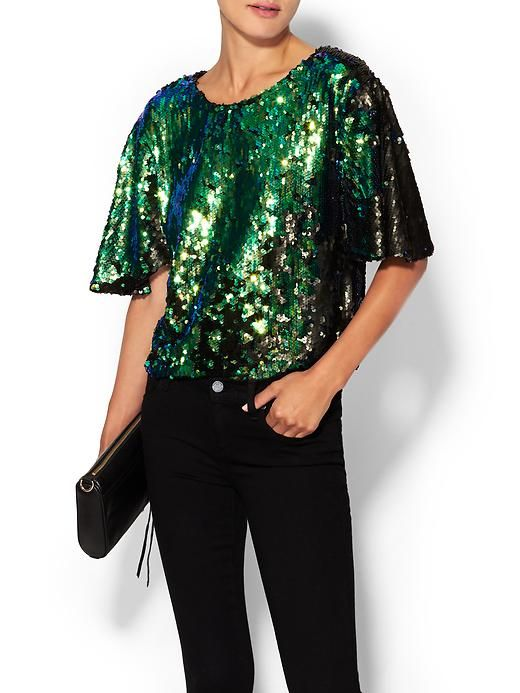 54774269 Sequin Top Short sleeve styling Rounded neckline Allover sequin  embellishment Cropped boxy silhouette