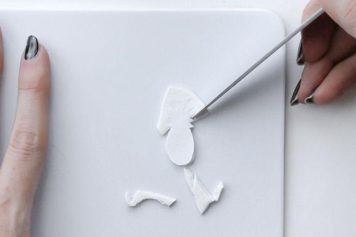 Basteln Fimo - Schablone ausstechen