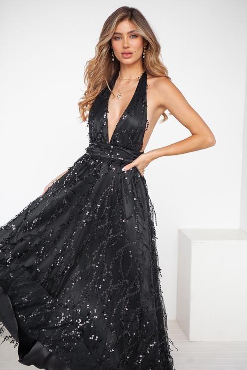 98988976173c The Perfect Date Sequin Maxi Dress (Black)
