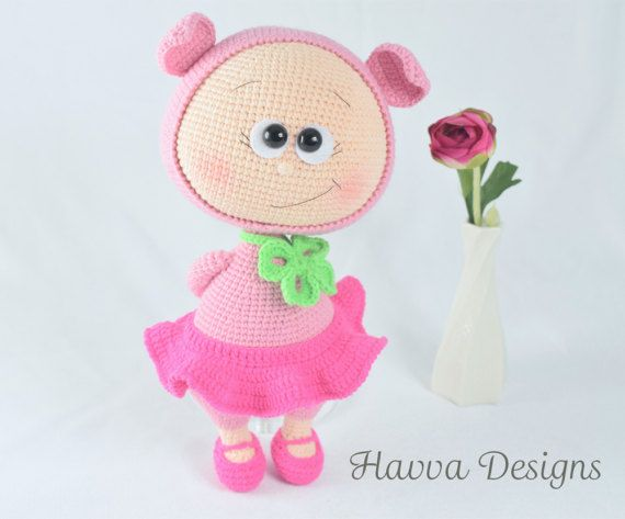 Crochet Pattern Bonnie With Pig Costume Amigurumi Doll Pattern