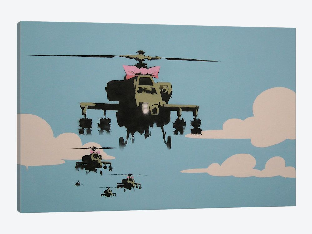 Banksy Happy Choppers-Helicopter by Banksy 1-piece Canvas Art
