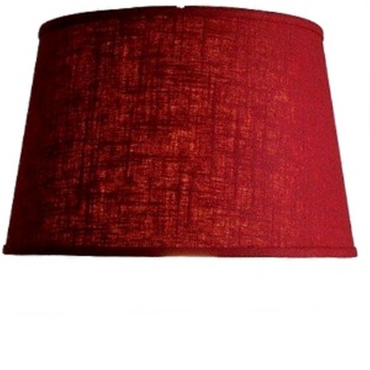 Upgradelights Red Linen Fabric Floor or Table Lamp Drum Lampshade
