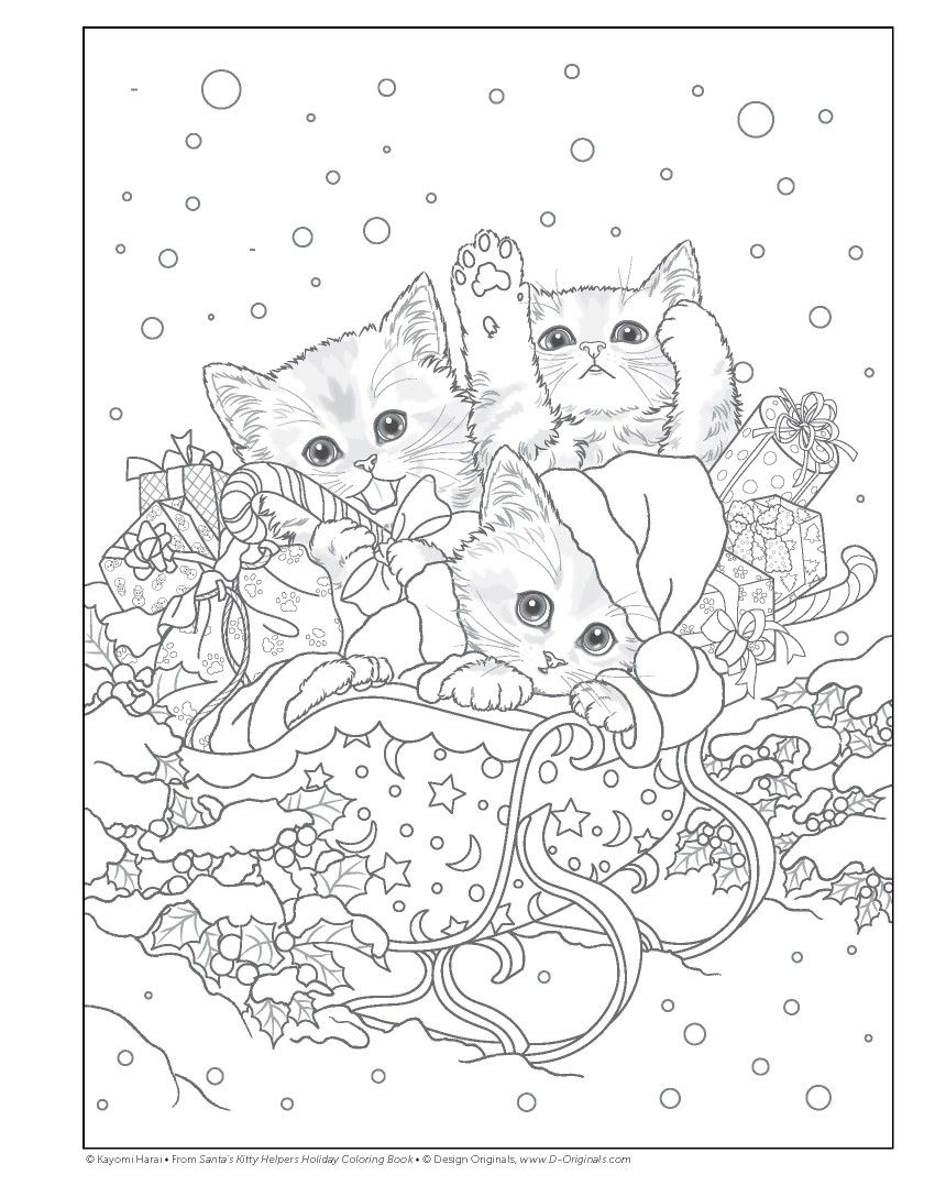Trio Xmas Kitties Cat Coloring Page Christmas Coloring Books Coloring Pages
