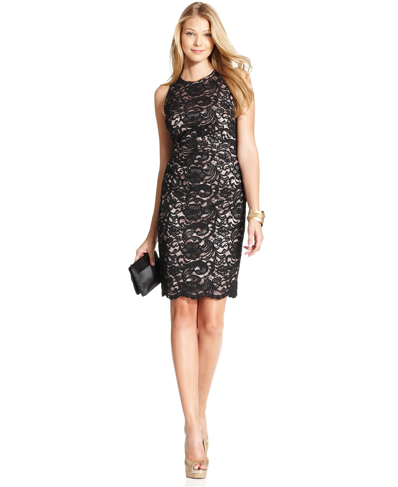 Xscape Dress Sleeveless Lace Cocktail Sheath Womens Dresses