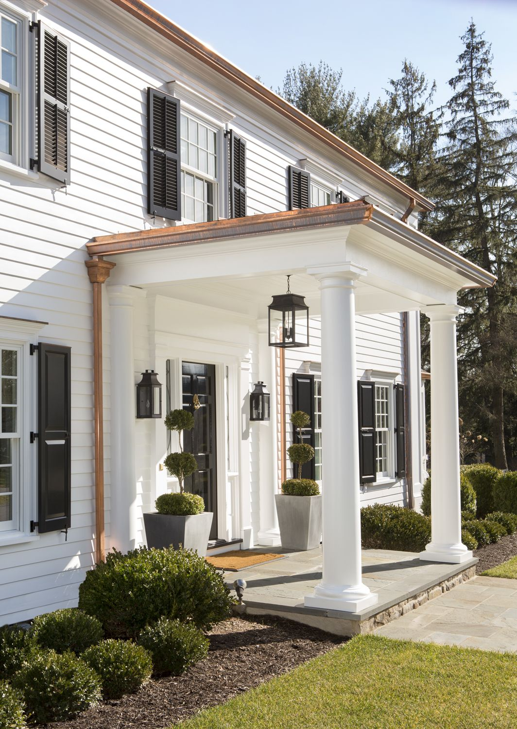Exterior Renovation With Copper In 2020 Colonial House Exteriors Copper Roof House Cape House Exterior
