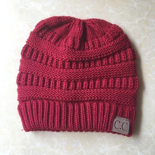 493fab4b61c48 BONJEAN women warm hat CC Trendy Warm winter knitted Chunky Soft Slouchy  Beanie High bun Ponytail Stretchy hat gorro feminino