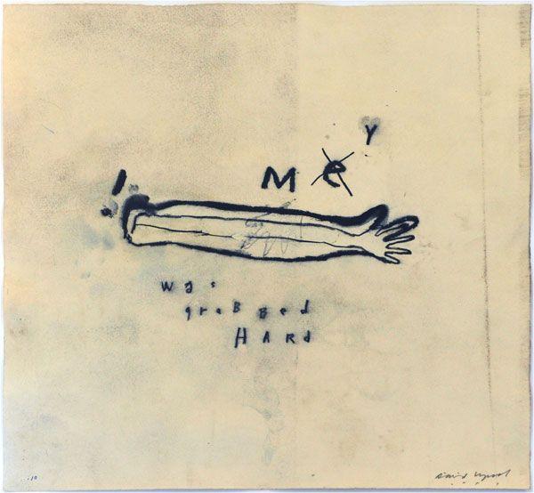 David Lynch  David Lynch M(e)y was grabbed hard, 2010  crayon gras lithographique sur papier, 41 x 37,6 cm