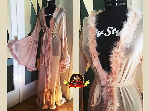 23be0722b5 Pink and Black Boudoir Dressing Gown, Marabou Feather Robe Lingerie ...