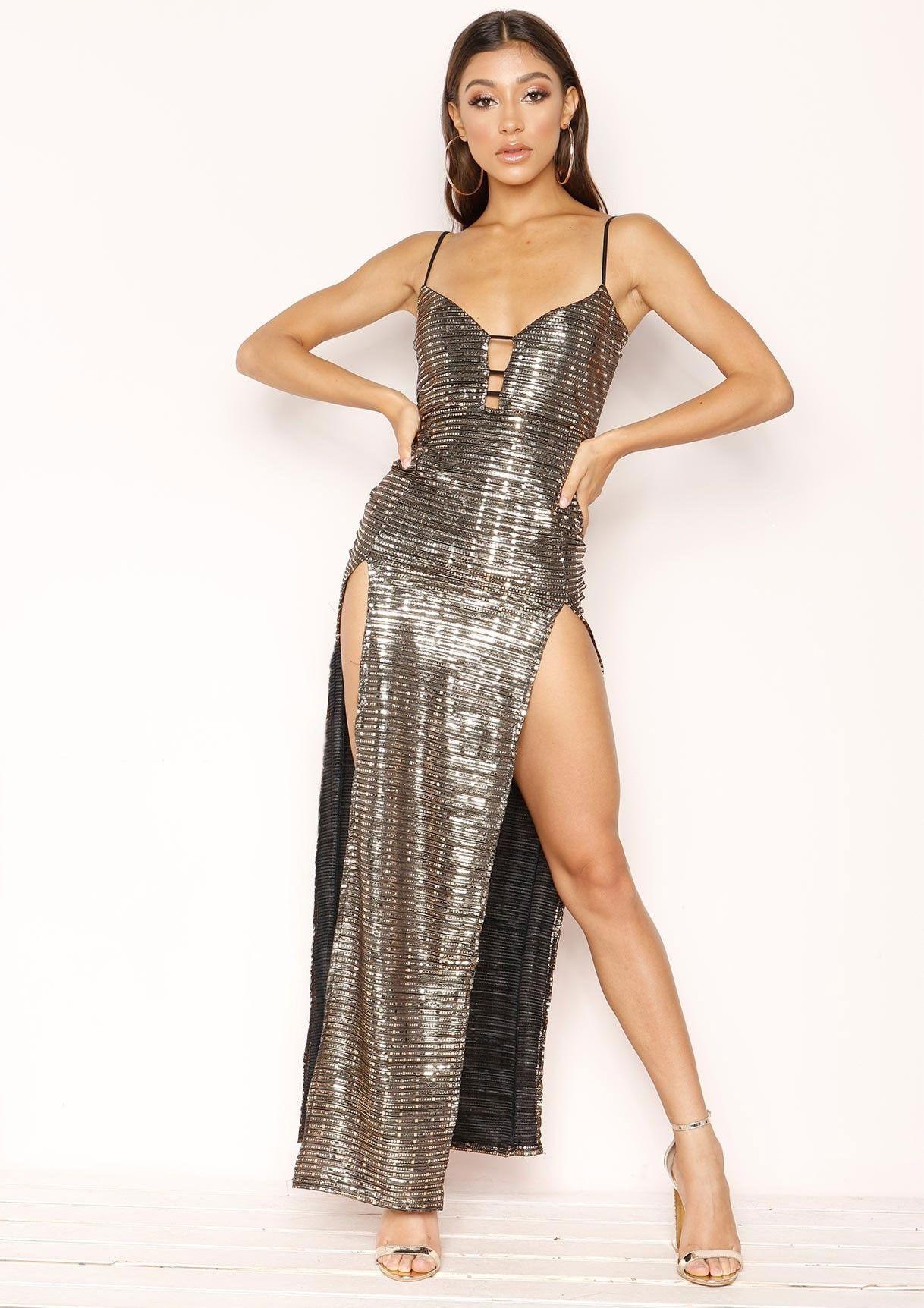 ed75691a580 Missyempire - Hilary Gold Sequin Split Maxi Dress