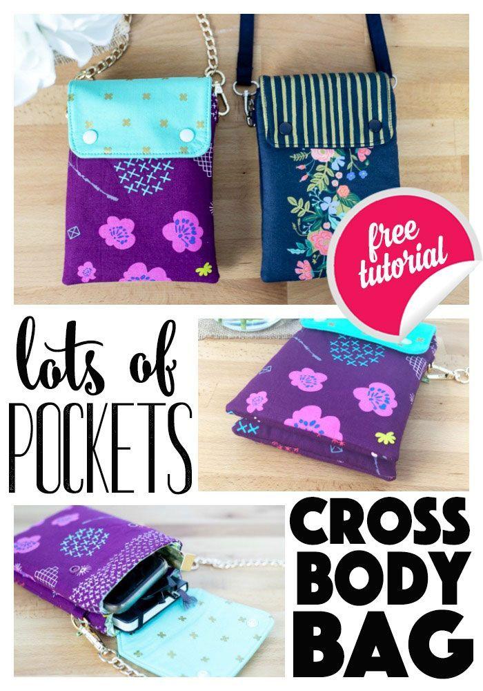 Viele Taschen Cross Body Bag - kostenlose Schnittmuster! #bagsewingpatterns