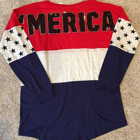 NWT: VS Pink 'Merica Long Sleeve Shirt Rare Victoria's Secret Pink ...