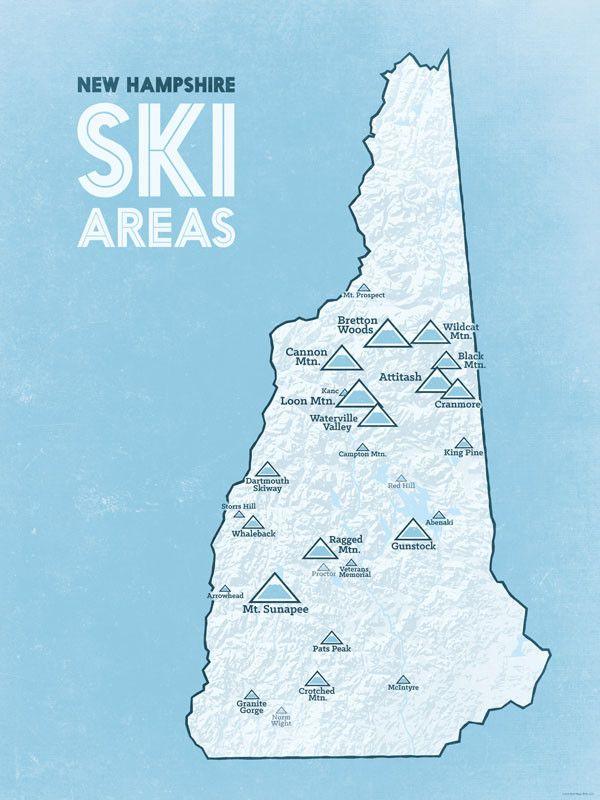New Hshire Ski Resorts Map 18x24 Poster: East Coast Ski Resort Map At Slyspyder.com