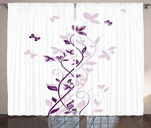 Purple Decor Curtains by Ambesonne, Violet Tree Swirling Persian Lilac Blooms with Butterfly Art Ornamental Plant Graphic, Living Room Bedroom Decor, 2 Panel Set, 108W X 84L Inches, Purple White * More info could be found at the image url.