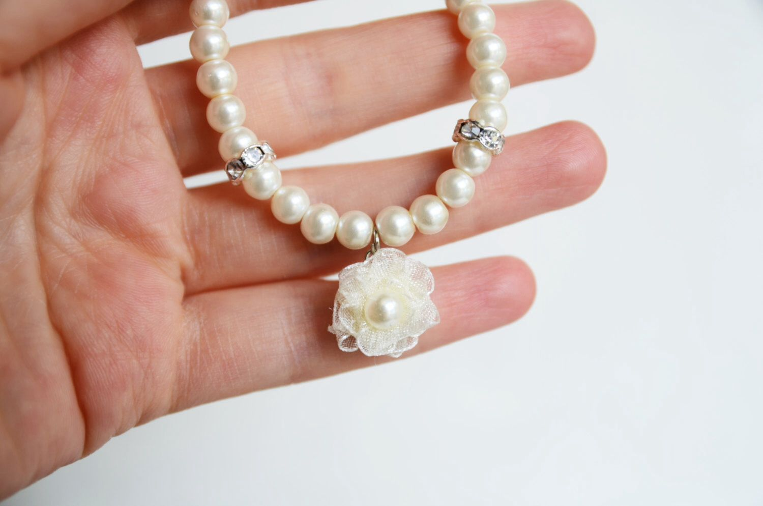 Flower girl jewelry bracelet glass pearl organza flower ivory or